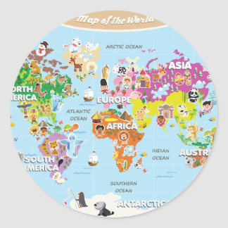 World Map For Kids - Cute and Fun Classic Round Sticker