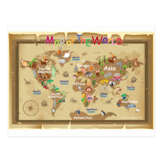 World Map For Kids - Earthy tones Post Cards