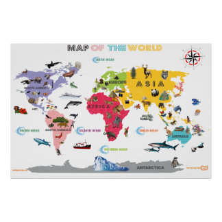 World Map For Kids - White and Bright Interactive Poster