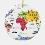 World Map For Kids - White and Bright Double-Sided Ceramic Round Christmas Ornament