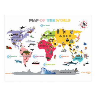 World Map For Kids - White and Bright Postcards
