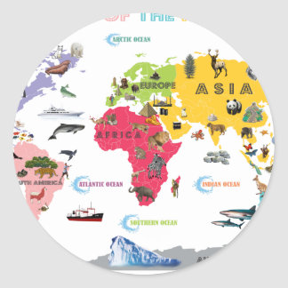 World Map For Kids - White and Bright Classic Round Sticker