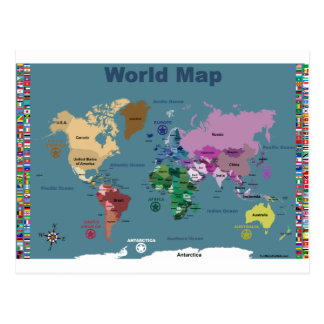 World Map for Kids with Flags Postcard