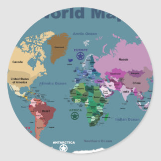 World Map for Kids with Flags Classic Round Sticker