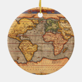 World map from 1601 ceramic ornament