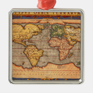 World map from 1601 metal ornament