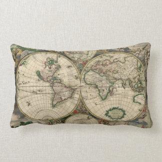 World Map from 1689 Lumbar Pillow