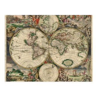 World Map from 1689 Postcard