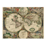 World Map from 1689 Postcards