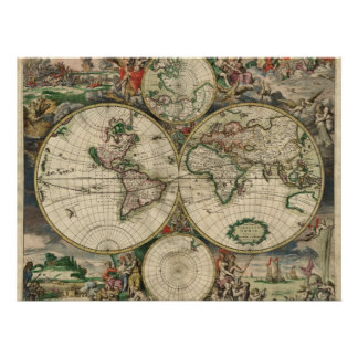 World Map from 1689 Poster