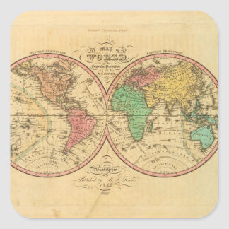 World Map from Antiquity 1 Square Sticker