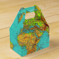 World Map - Gable Favor Box