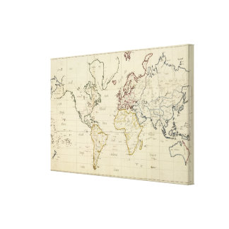 World map gallery wrap canvas