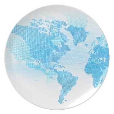 World Map Global Earth Abstract Background Plate