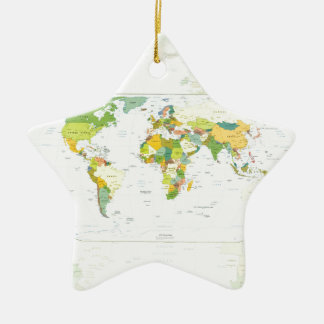 World Map Globe Atlas Countries Ceramic Ornament