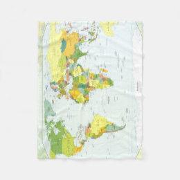 World map fleece blankets zazzle world map globe atlas countries fleece blanket gumiabroncs Image collections