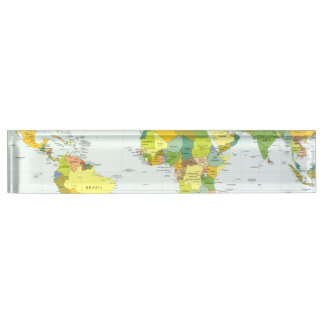 World Map Globe Atlas Countries Nameplate