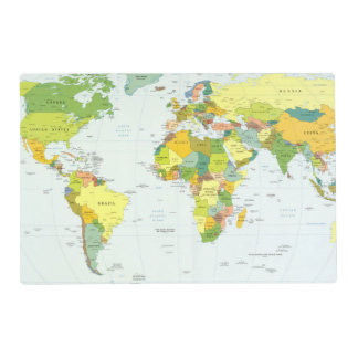 World Map Globe Atlas Countries Laminated Placemat