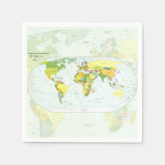 World Map Globe Atlas Countries Standard Cocktail Napkin