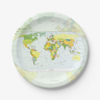 World Map Globe Atlas Countries Paper Plate