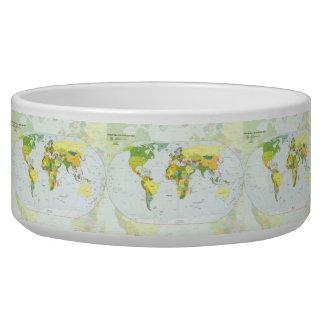 World Map Globe Atlas Countries Dog Food Bowls