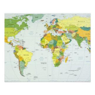 World Map Globe Atlas Countries Poster