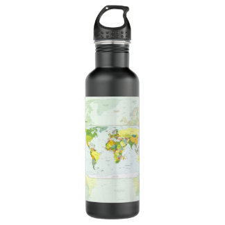 World Map Globe Atlas Countries Water Bottle