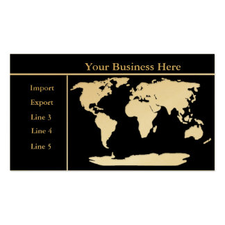 World Map Gold/Black Business Card 2