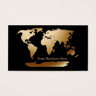 World Map Gold/Black Business Card 3