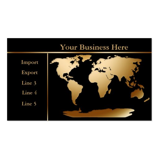 World Map Gold/Black Business Card 4