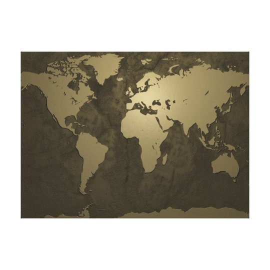 World Map Gold Canvas Print