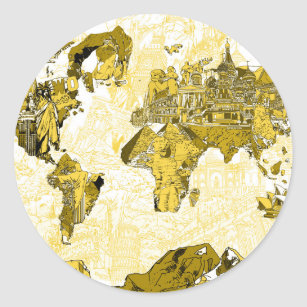 Gold world map stickers zazzle world map gold classic round sticker gumiabroncs Image collections