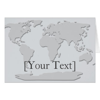World Map Greeting  Card Platinum