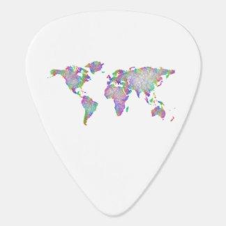 World map guitar pick