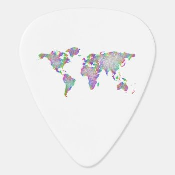 World Map Guitar Pick by ZYDDesign at Zazzle