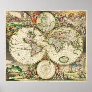 World Map in 1689 by Gerard van Schagen Poster