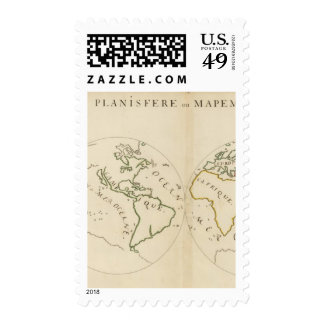 World Map in 4 Parts Postage Stamp
