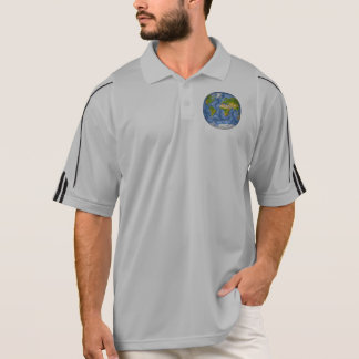 World map in a circle polo shirt