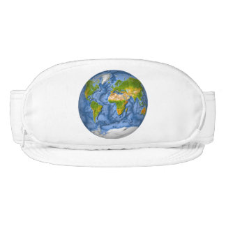 World map in a circle visor