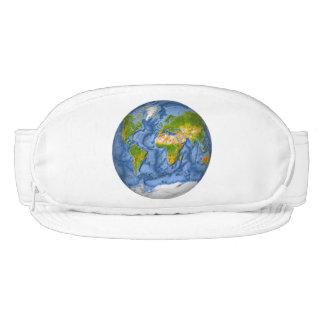 World map in a circle visor