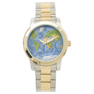 World map in a circle wrist watch