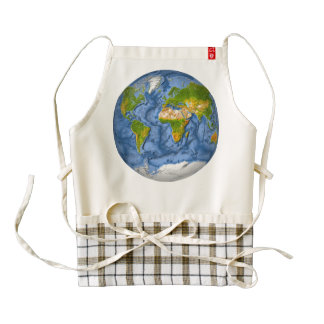 World map in a circle zazzle HEART apron