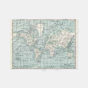 Make your own world map fleece blanket bundle up in yours today world map in blue and cream blanket gumiabroncs Choice Image