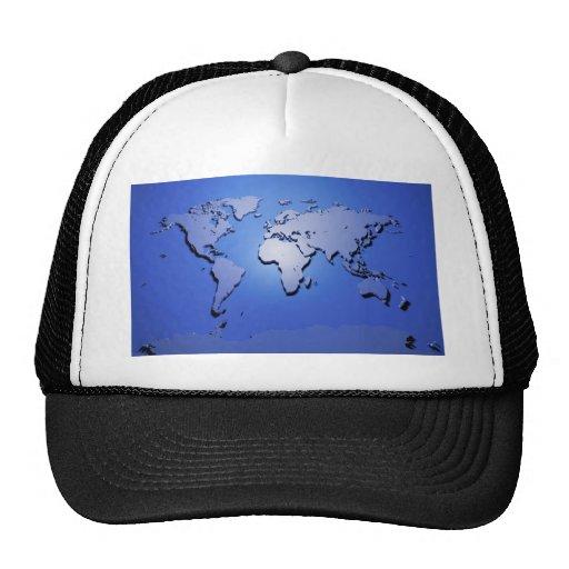 World Map in Blue Cap