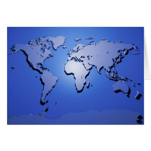 World Map in Blue Card