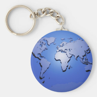 World Map in Blue Key Chain