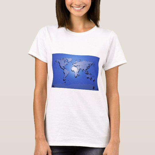 World Map in Blue T-Shirt