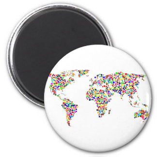 World Map in Circles 2 Inch Round Magnet