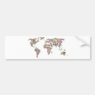 World Map in Circles Bumper Sticker