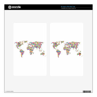World Map in Circles Kindle Fire Skins